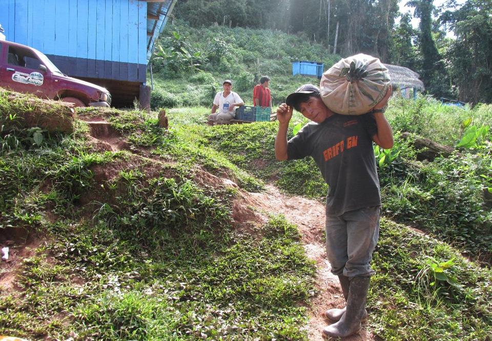 """Ein Bürger von Alto Tiwinza trägt einen Sack """"cal"""" zum Aufforstungsgebiet, eine Art Entkalker, der zur Regulierung des pH-Wertes des Bodens verwendet wird."""