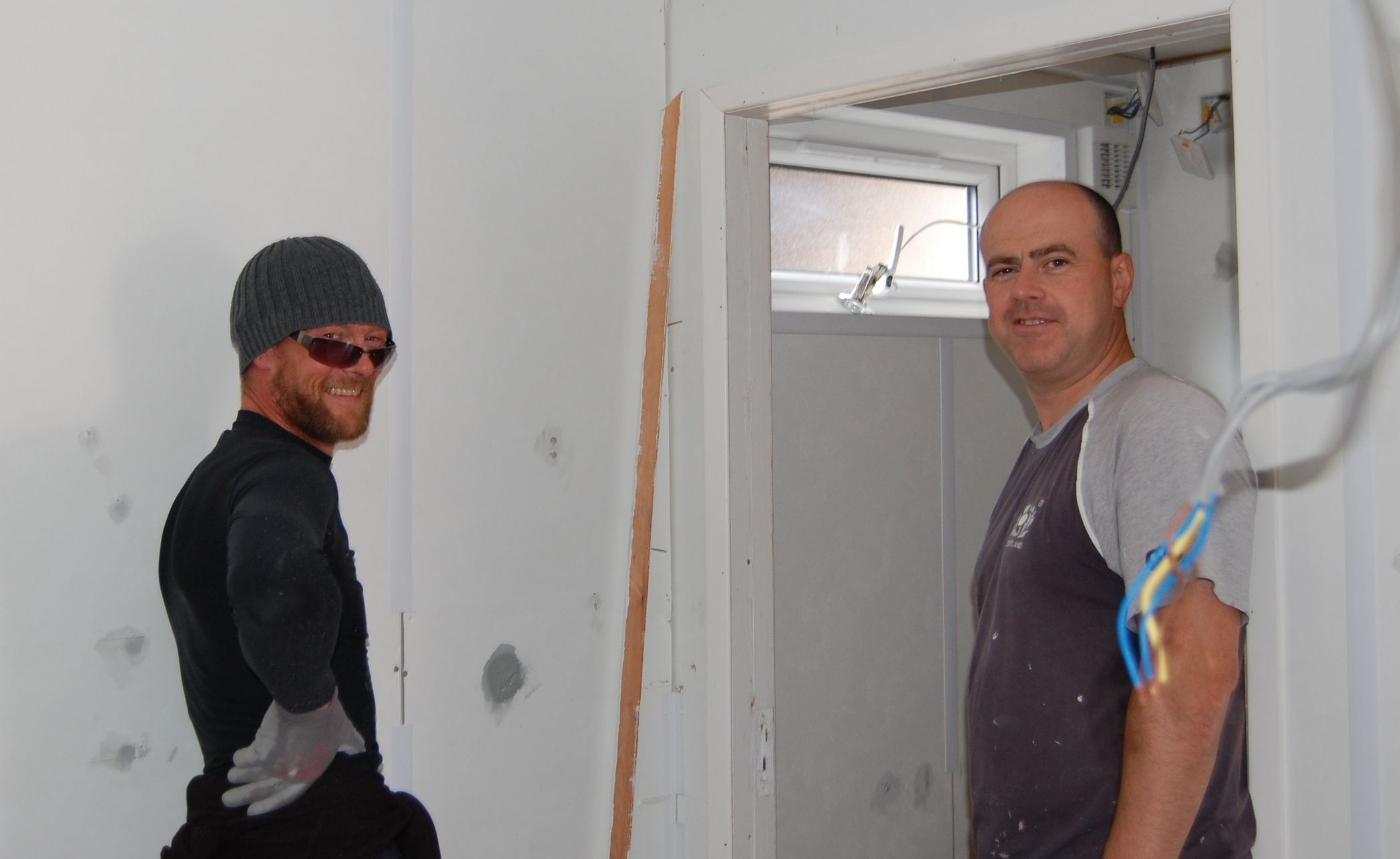Graham and Mark grafting away in the cabin...Apologies for the mug shot guys!