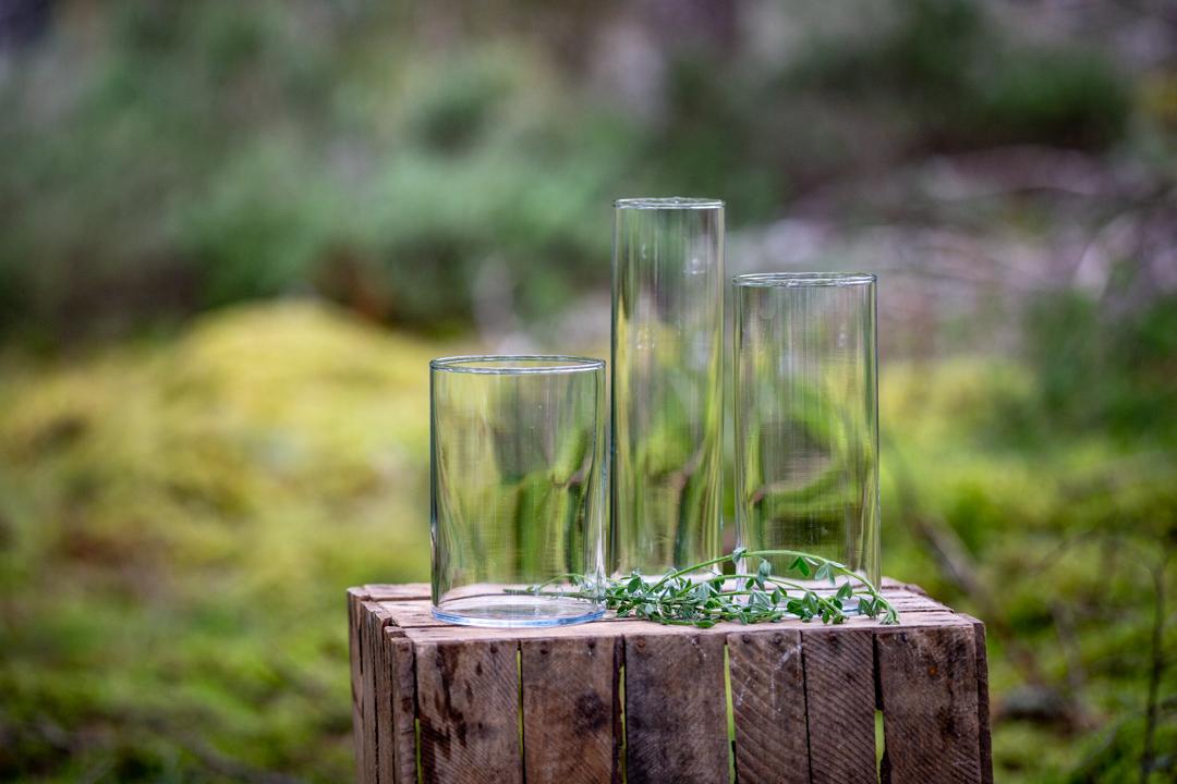 Glass Hurricane vase x 3 £7