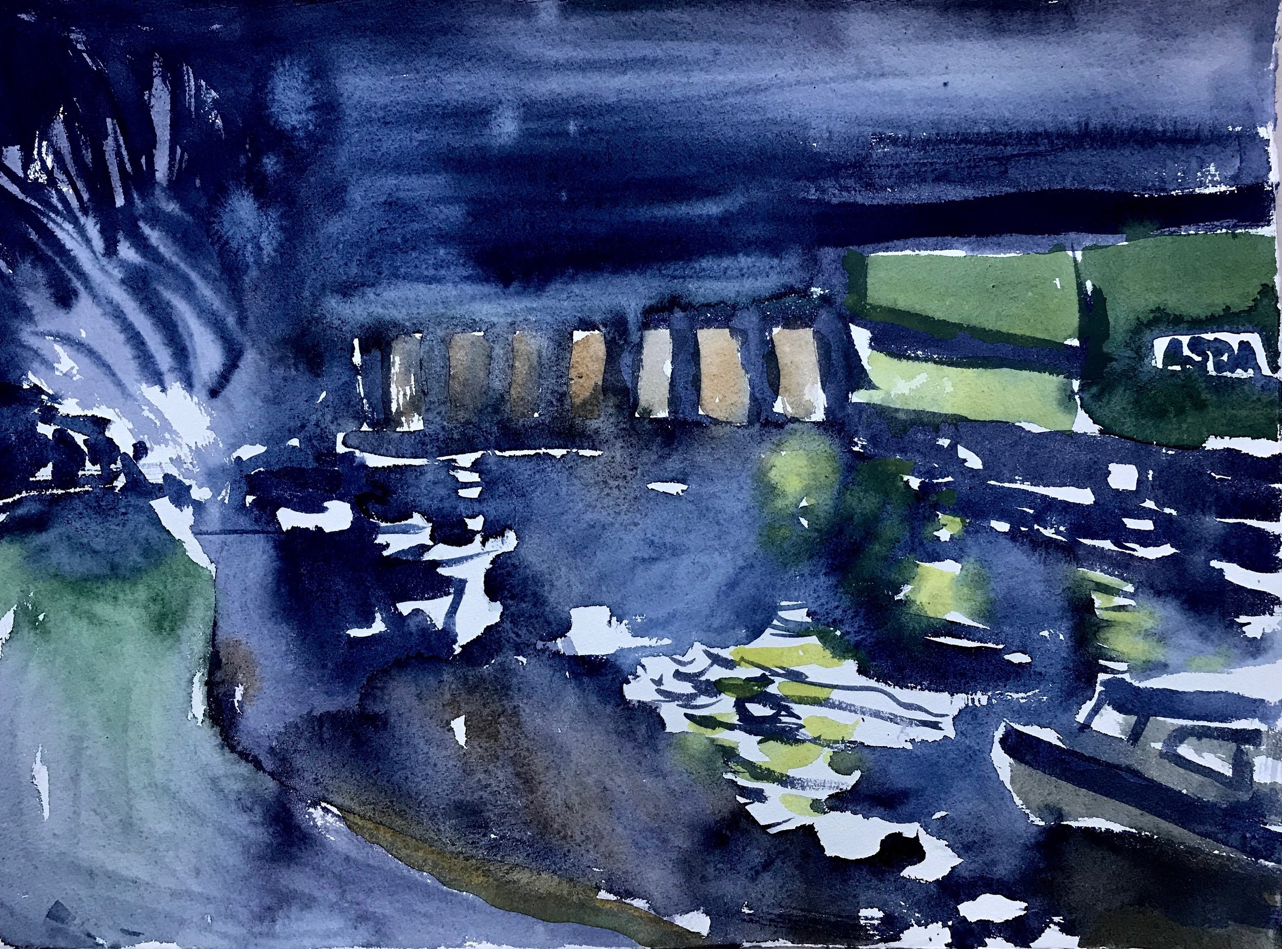 Early morning water colour on Hannemulhe paper.  Hayle viaduct and harbour