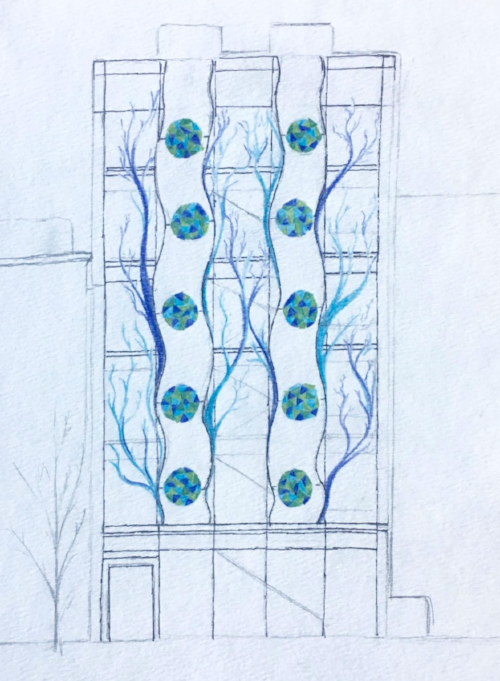 A bio-art design for the engineering building, one of many capstone projects. All of them are here for  2017 ,  2016 ,  2015 ,  2014 , and  2013 .