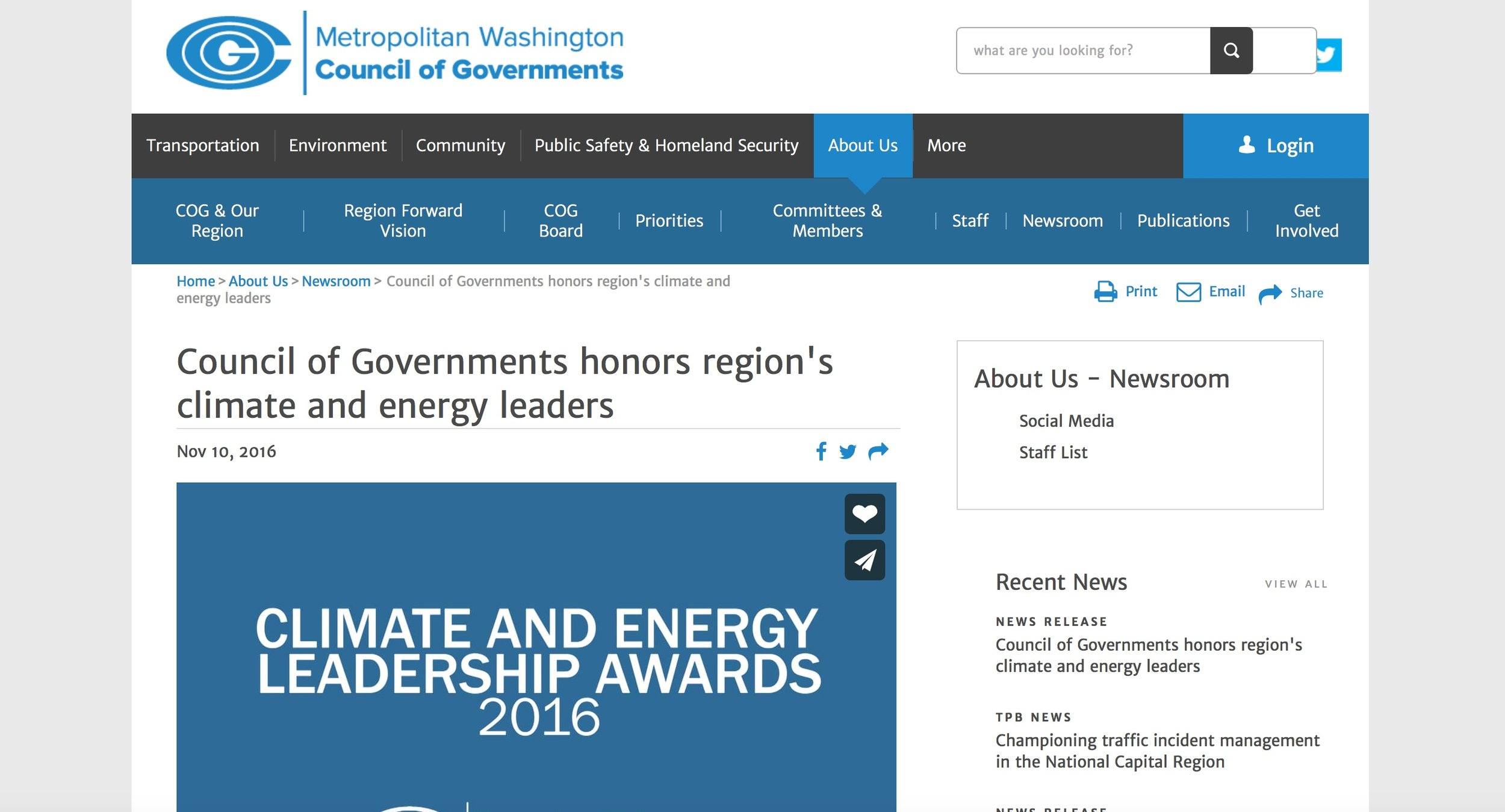 Metropolitan Council of Governments (COG) Climate and Energy Leadership Award - 2016
