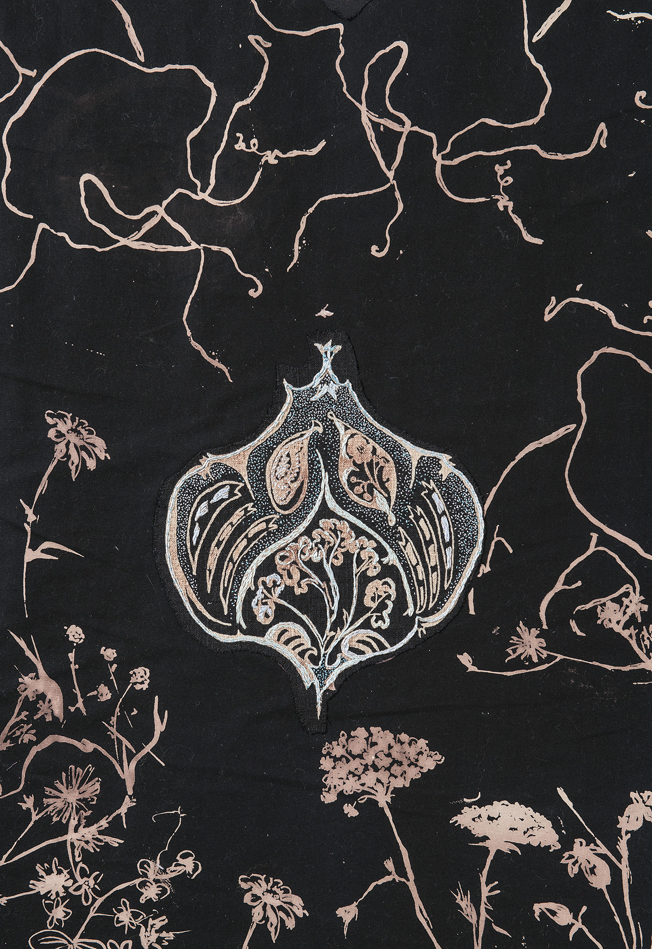 Incantation, detail showing embroidery