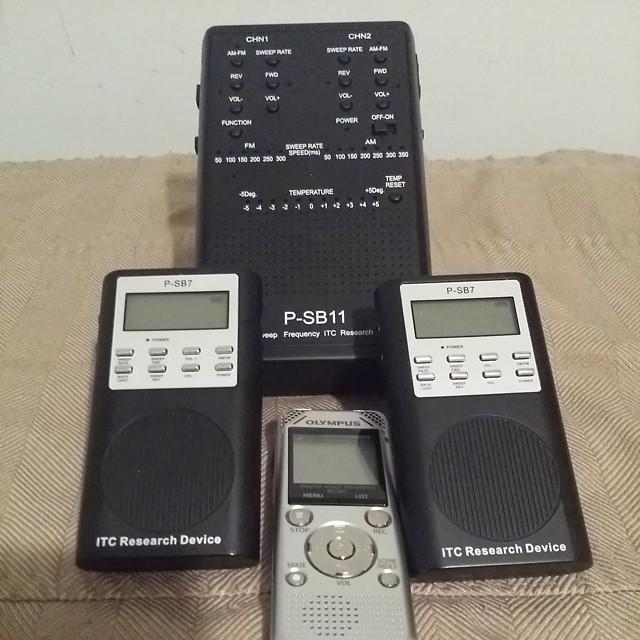 (shown) SB11 spirit box, two SB7 spirit boxes and an Olympus digital recorder