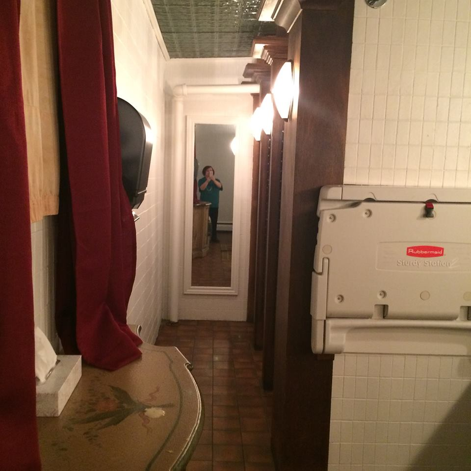 The female washroom at The Five Fishermen. This is a room that has been the site of supposed exorcisms, and it is a room that many patrons complain about not feeling very comfortable in. Photo provided by Tari Anne Kareidis, an active member of our Facebook group Haunted Nova Scotia.