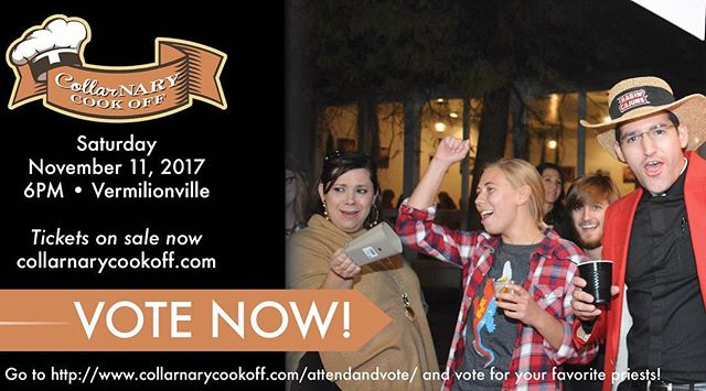 VOTING is now OPEN! Visit collarnarycookoff.com to vote for your favorite priest and to purchase your tickets! #stirthepot17