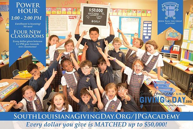 Let's win the 1:00-2:00 PM POWER HOUR! Visit SouthLouisianaGivingDay.Org/JPGAcademy to give now! The organization with the most donations during this hour wins a $1000 prize! All donations in this hour go towards the 4 NEW CLASSROOMS we need because ENROLLMENT is BOOMING! #SolaGivingDay