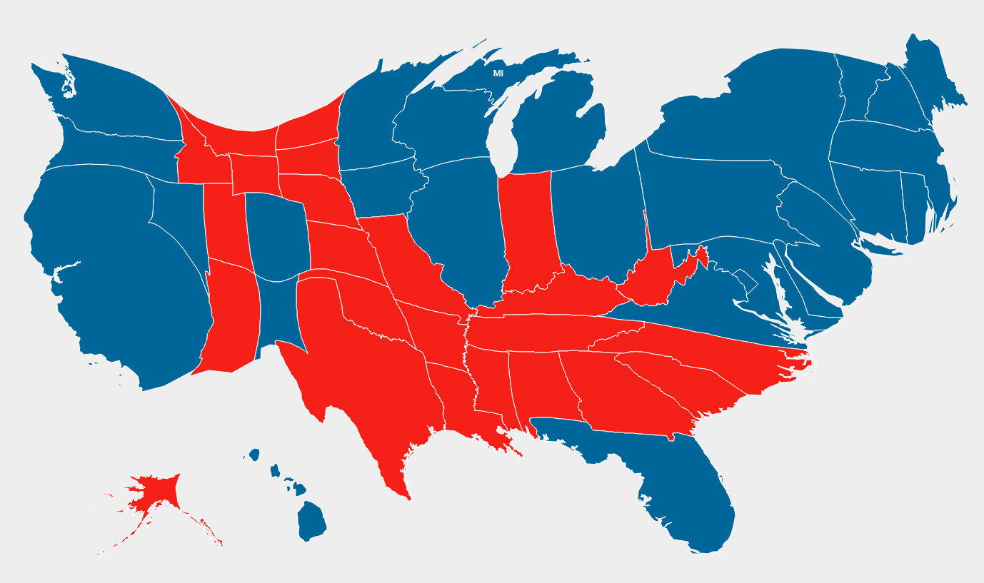 Gastner-Newman Cartogram - 2012 Presidential election results