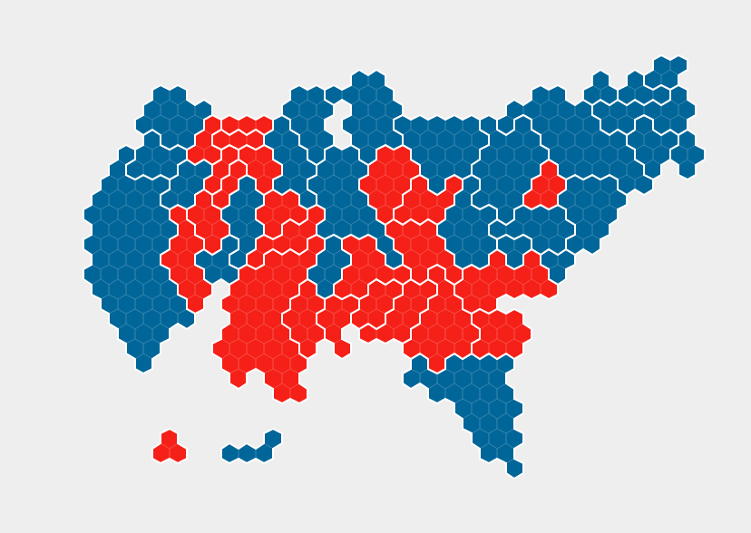 'Hexogram' - 2012 Presidential election results