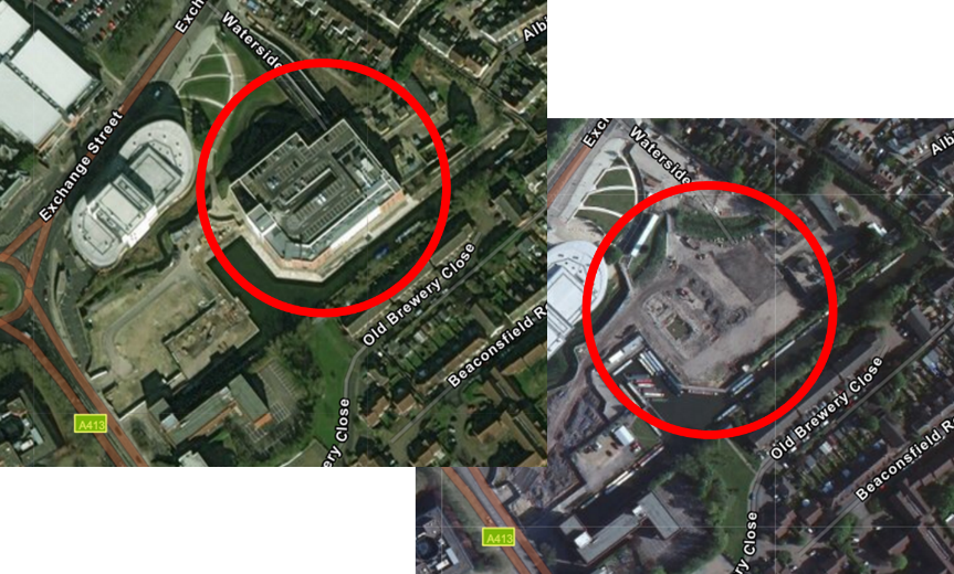 Front image is the new updated imagery showing a supermarket, the image behind is the previous imagery