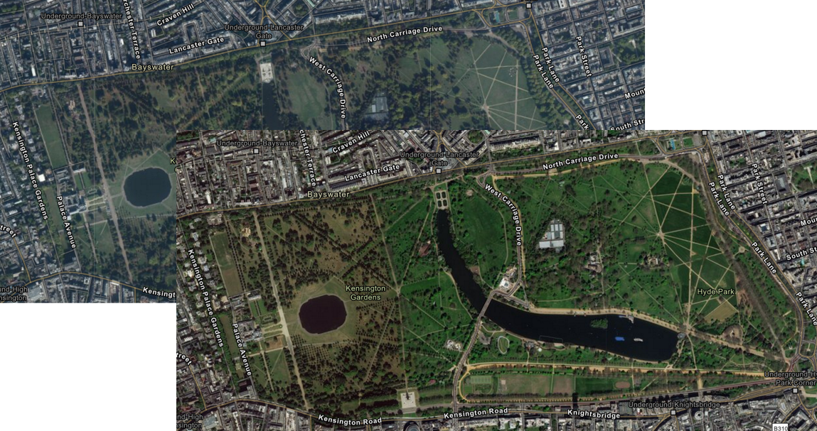 Front is image is showing the new colour saturation in the updated imagery, the image behind shows the previous aerial imagery