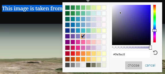 The Colour picker helps you to choose the right colours for your theme