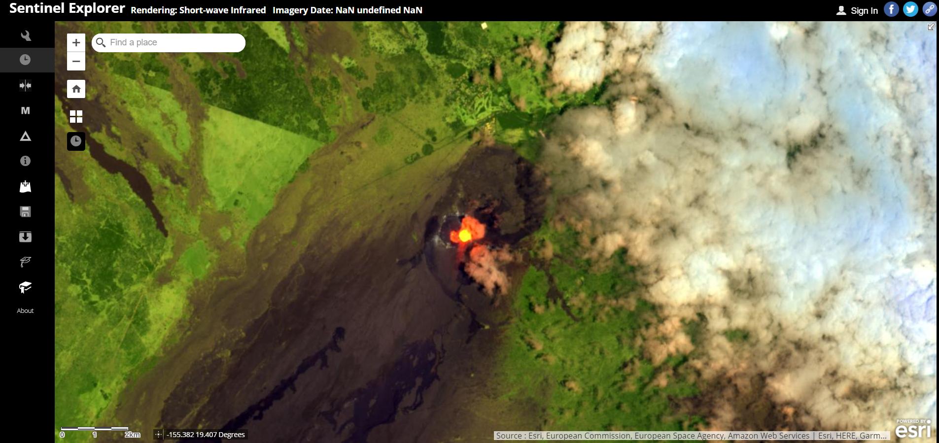 sentinel-2 explorer app. rendering short-wave infrared imagery.