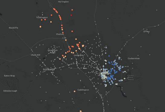 Hot Spot Analysis of road traffic accidents in and around Luton
