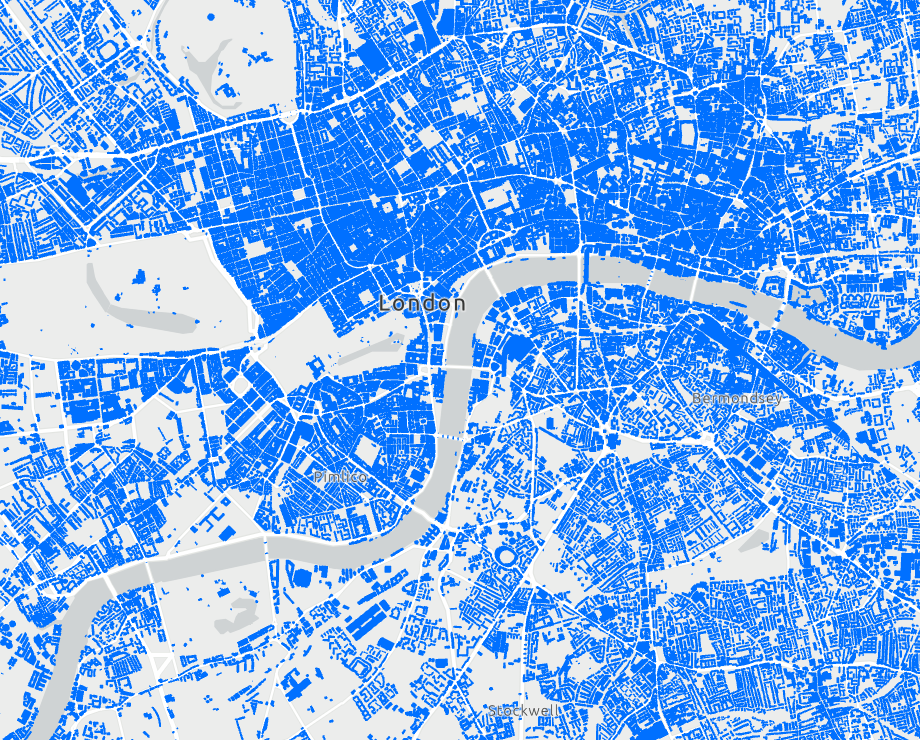 Building footprints extracted from OpenStreetMap in London.