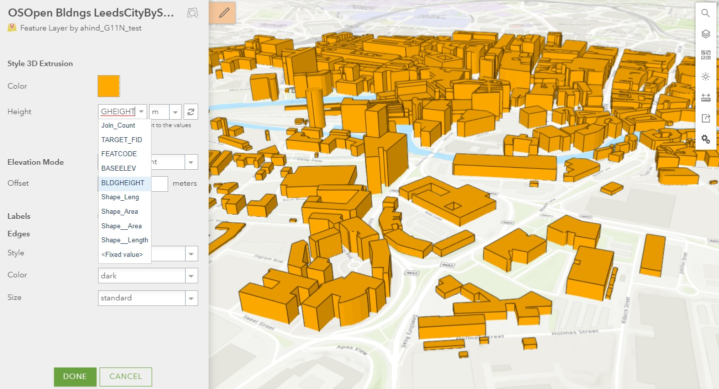 2D polygons extruded by a building height attribute to create a basic 3d urban model