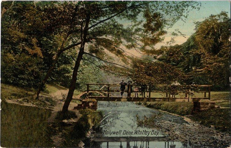 A Victorian postcard of Holywell Dene.