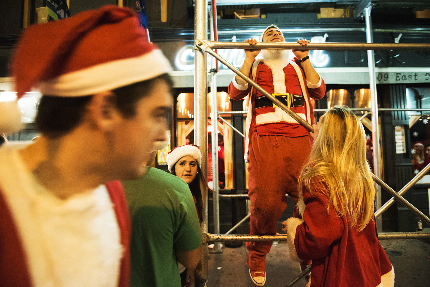 People in Santa Costume for SantaCon. Manhattan, NY. 2015  ©    Go Nakamura     photography