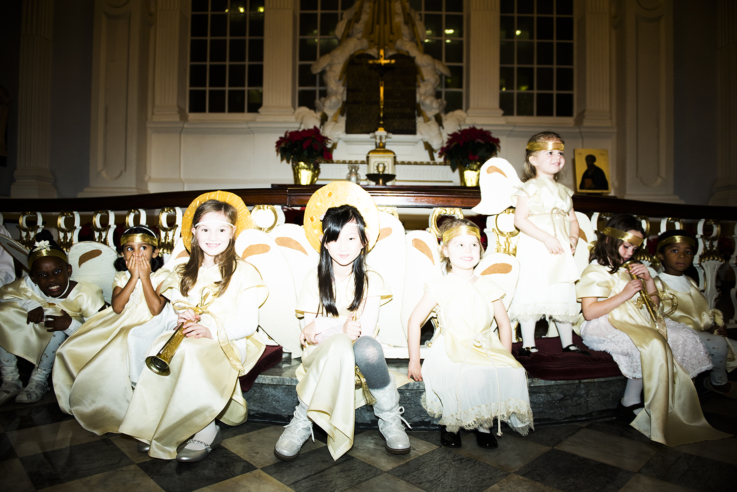 little angels waiting to play their roles for the Nativity play at St Paul's Chapel in Lower Manhattan, NY.2015  ©    Go Nakamura     photography