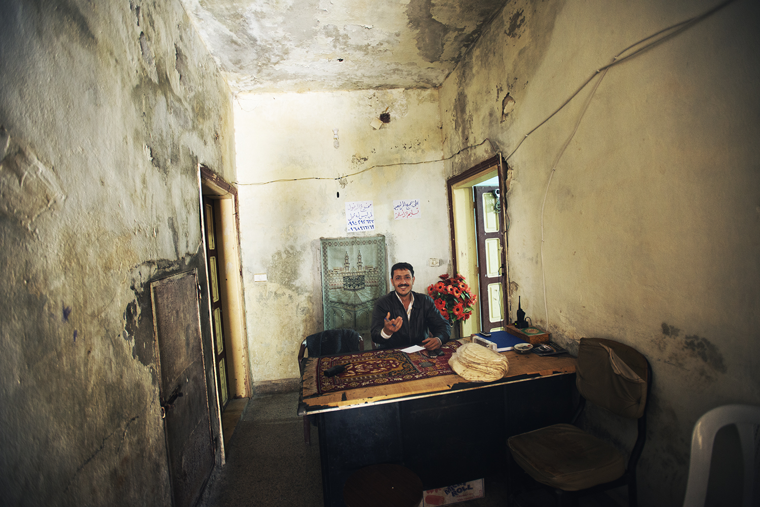 former Police station, now a rebel force headquarters. Tall Rifat, Syria. 2012   ©    Go Nakamura     photography