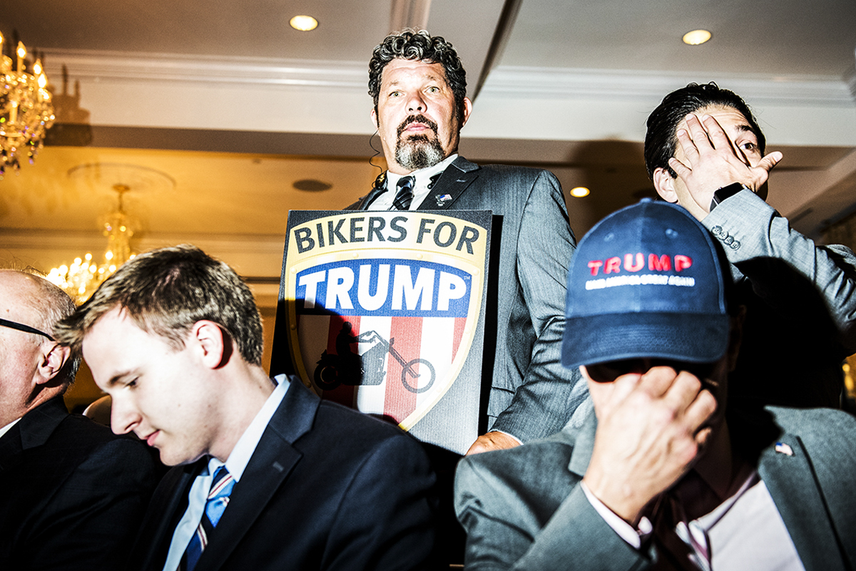 Donald Trump supporters while they  wait for Trump's post-election remarks event to start at Trump National Golf Club in Briarcliff Westchester, NY.  2016 ©Go Nakamura photography