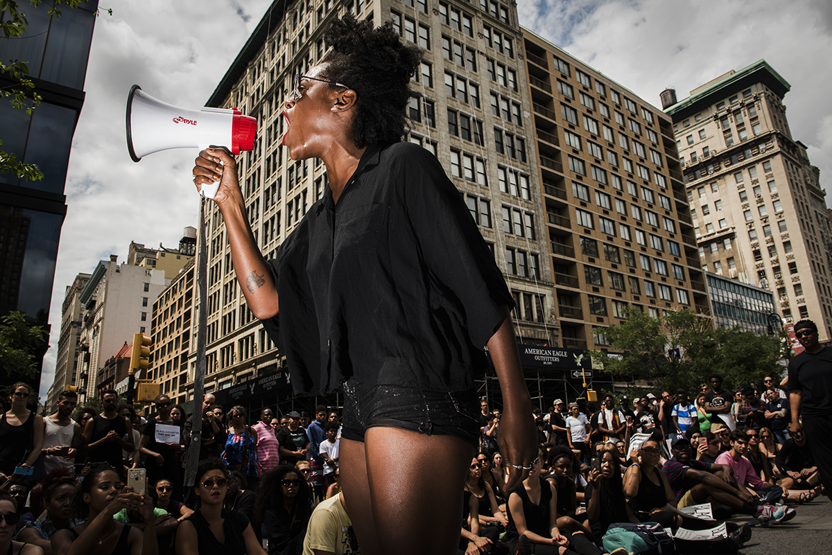 Black Lives Matter demonstrators gathered in Union Square. Manhattan, NY 2016 ©Go Nakamura photography