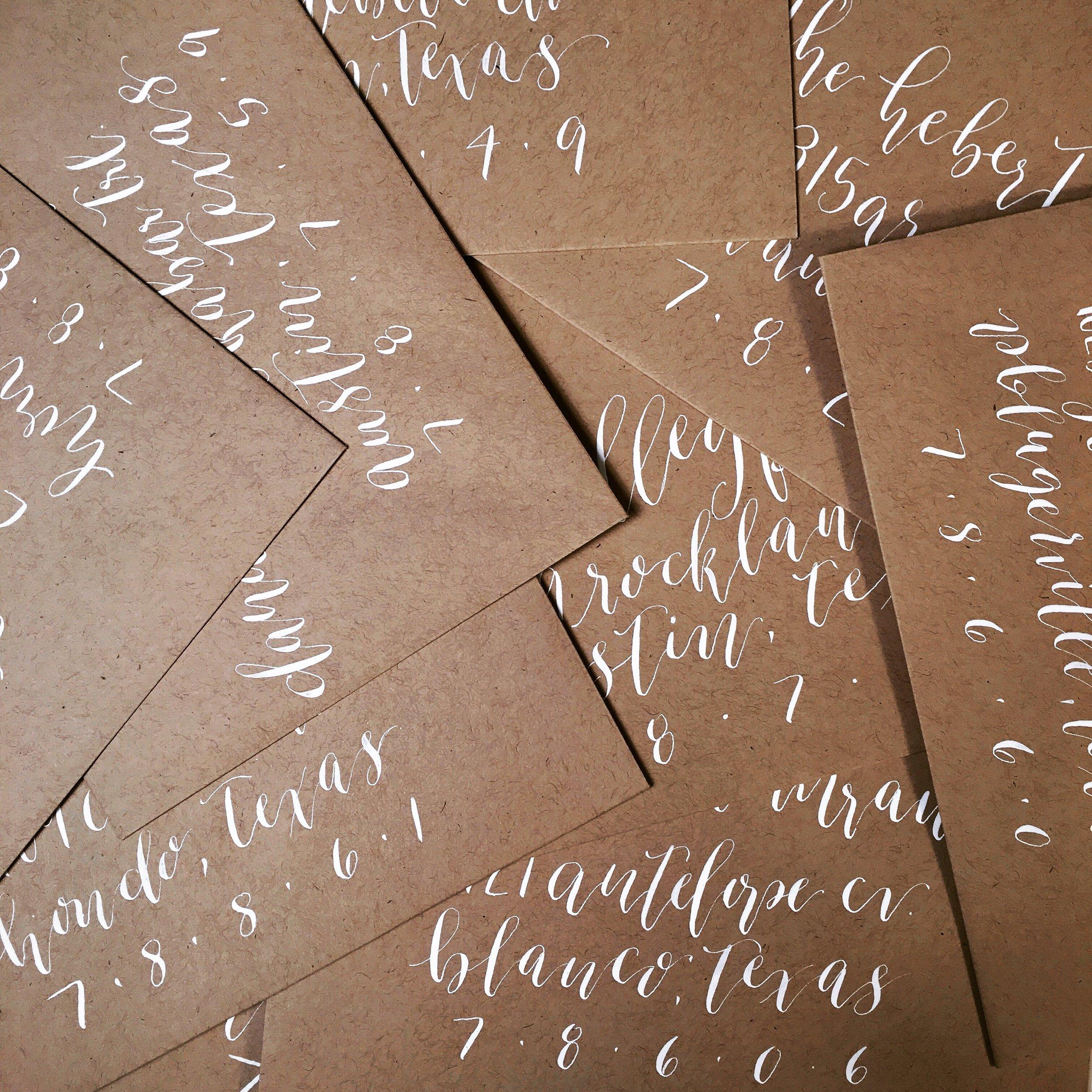 White Calligraphy Envelopes