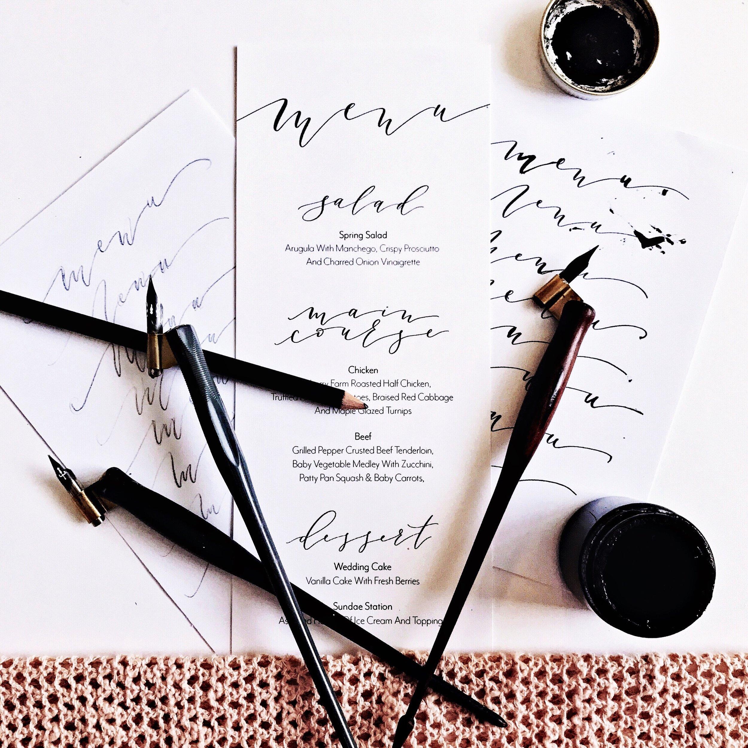 Wedding Calligraphy Menu