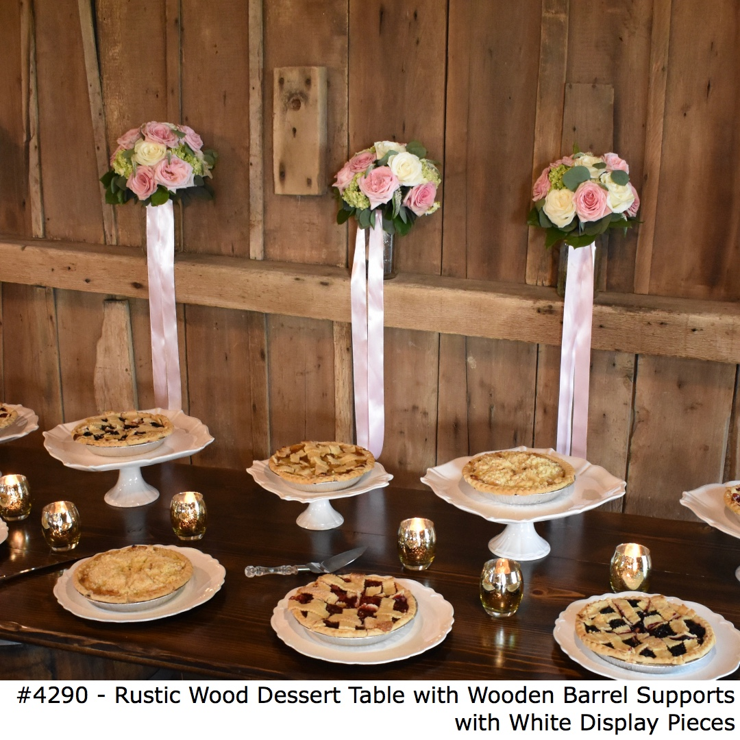 4290 Rustic Wood Dessert Table with Wooden Barrel Supports with White Display Pieces-1.jpg