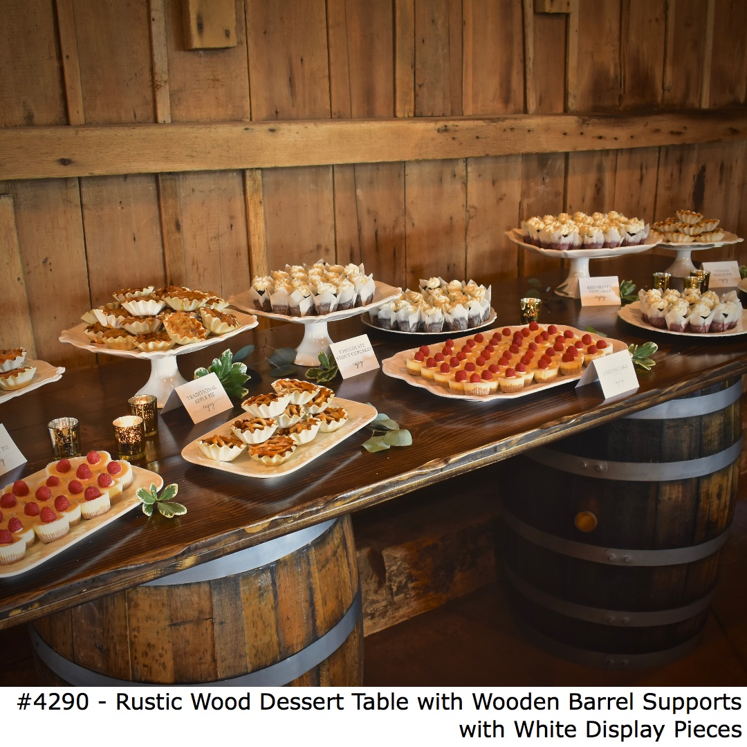4290 Rustic Wood Dessert Table with Wooden Barrel Supports with White Display Pieces-2.jpg