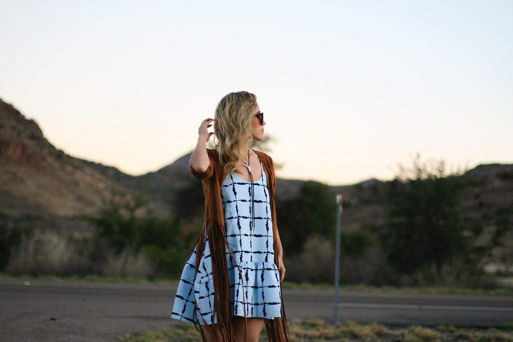 wearing: darling blue dress