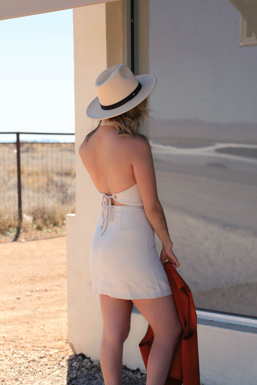 wearing: electric suede backless dress