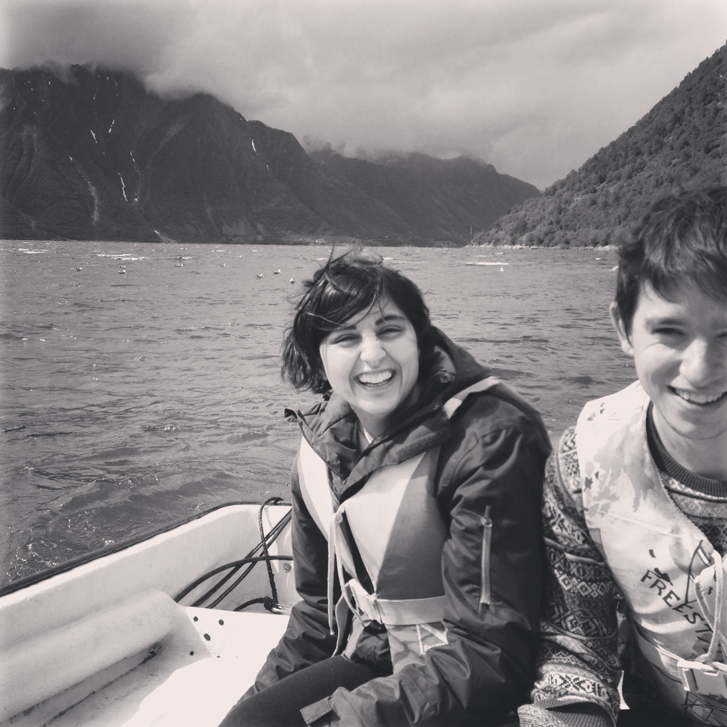 Friends Hena and Hugh on our boat trip to Saebo.