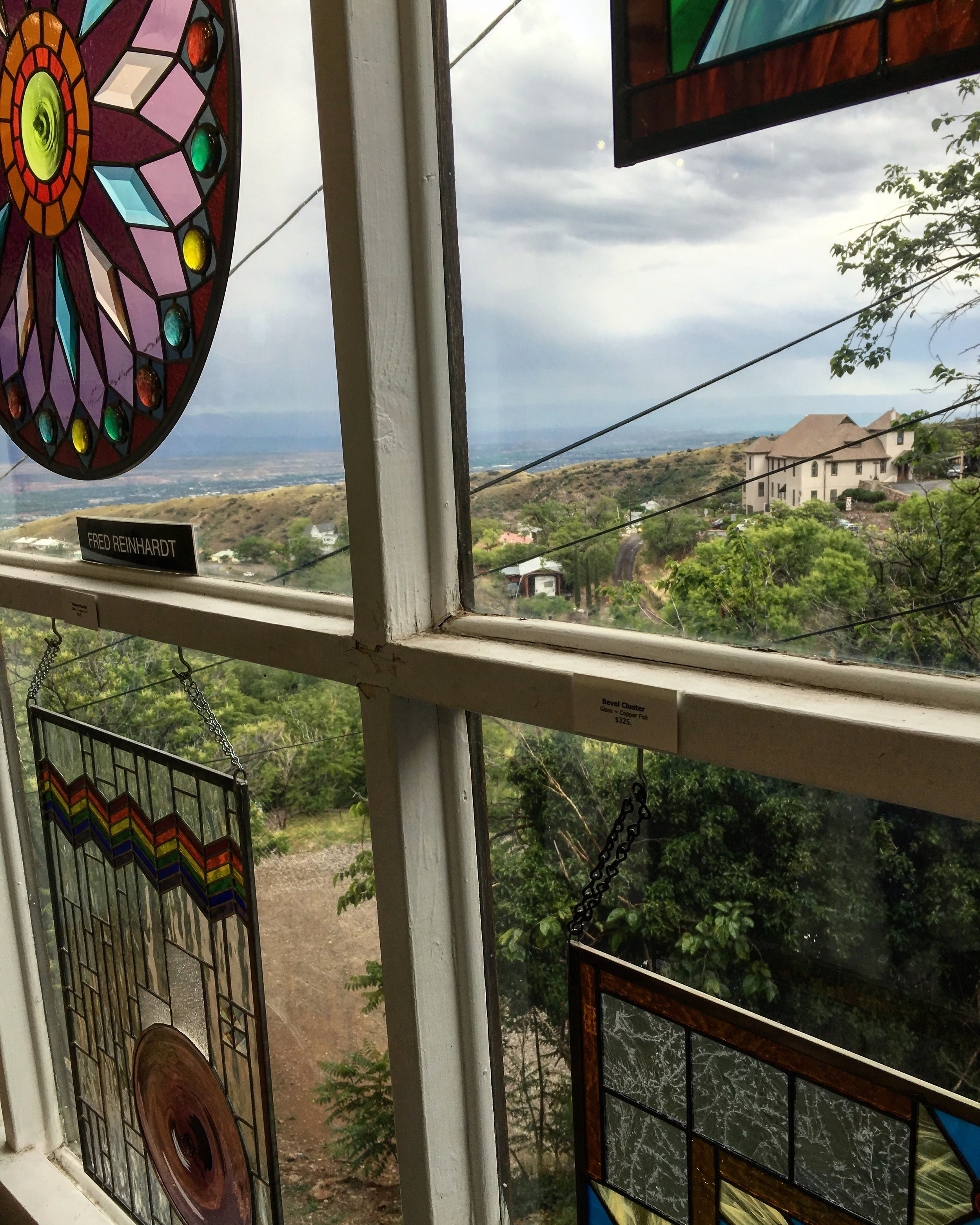 The windows of Jerome Artists Cooperative Gallery