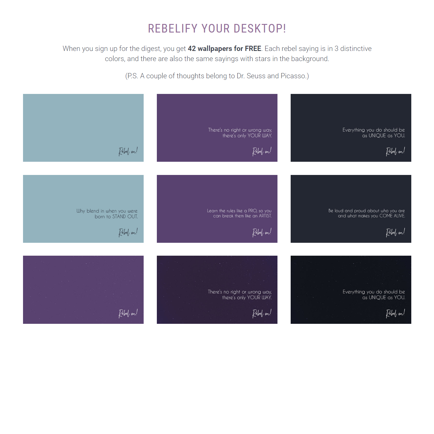 The Rebel Wallpapers for creative rebels and multipassionates - FREE download