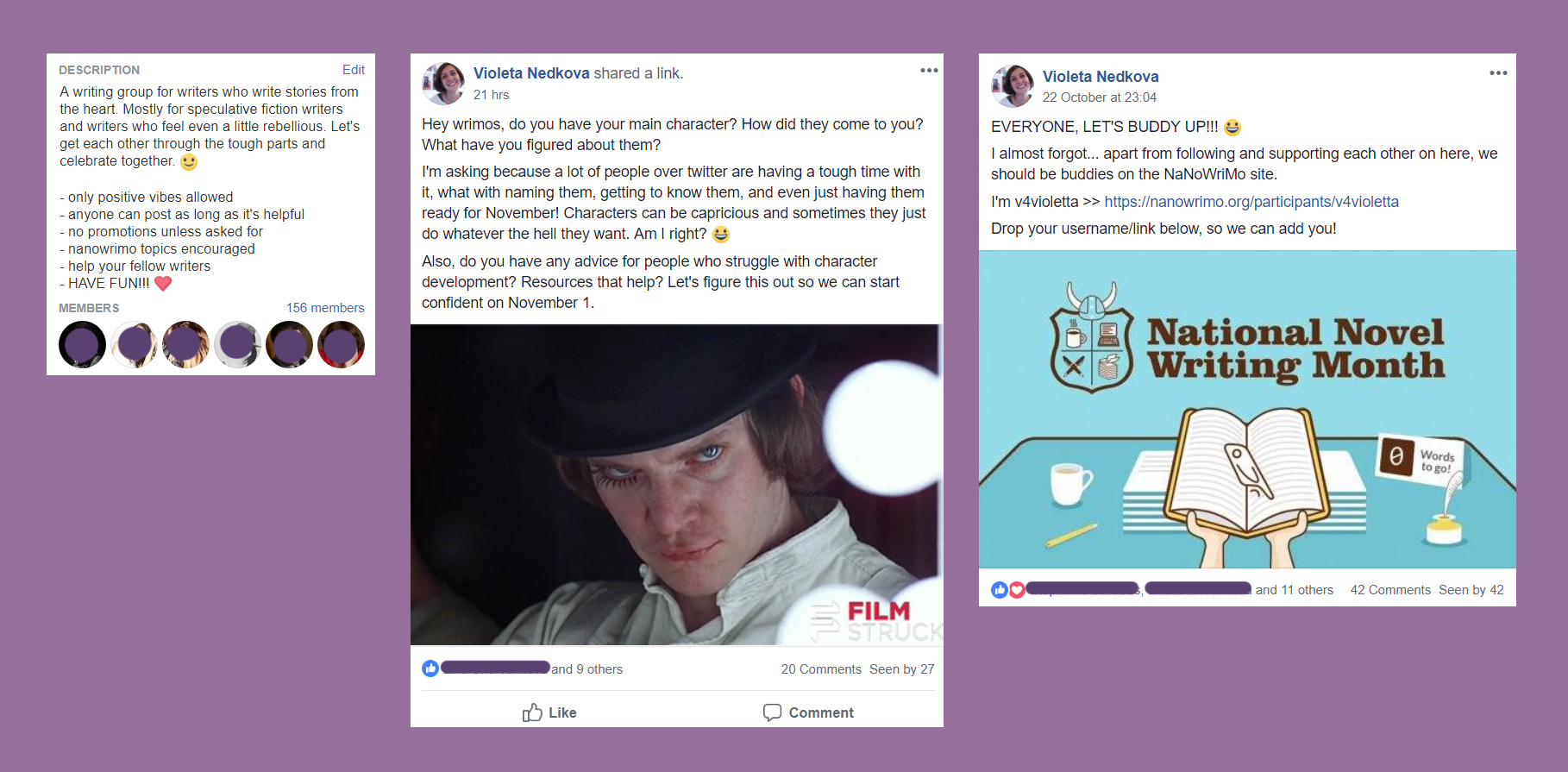 Join The Creative Rebel Writers on facebook! A writing community that's doing NaNoWriMo 2018.