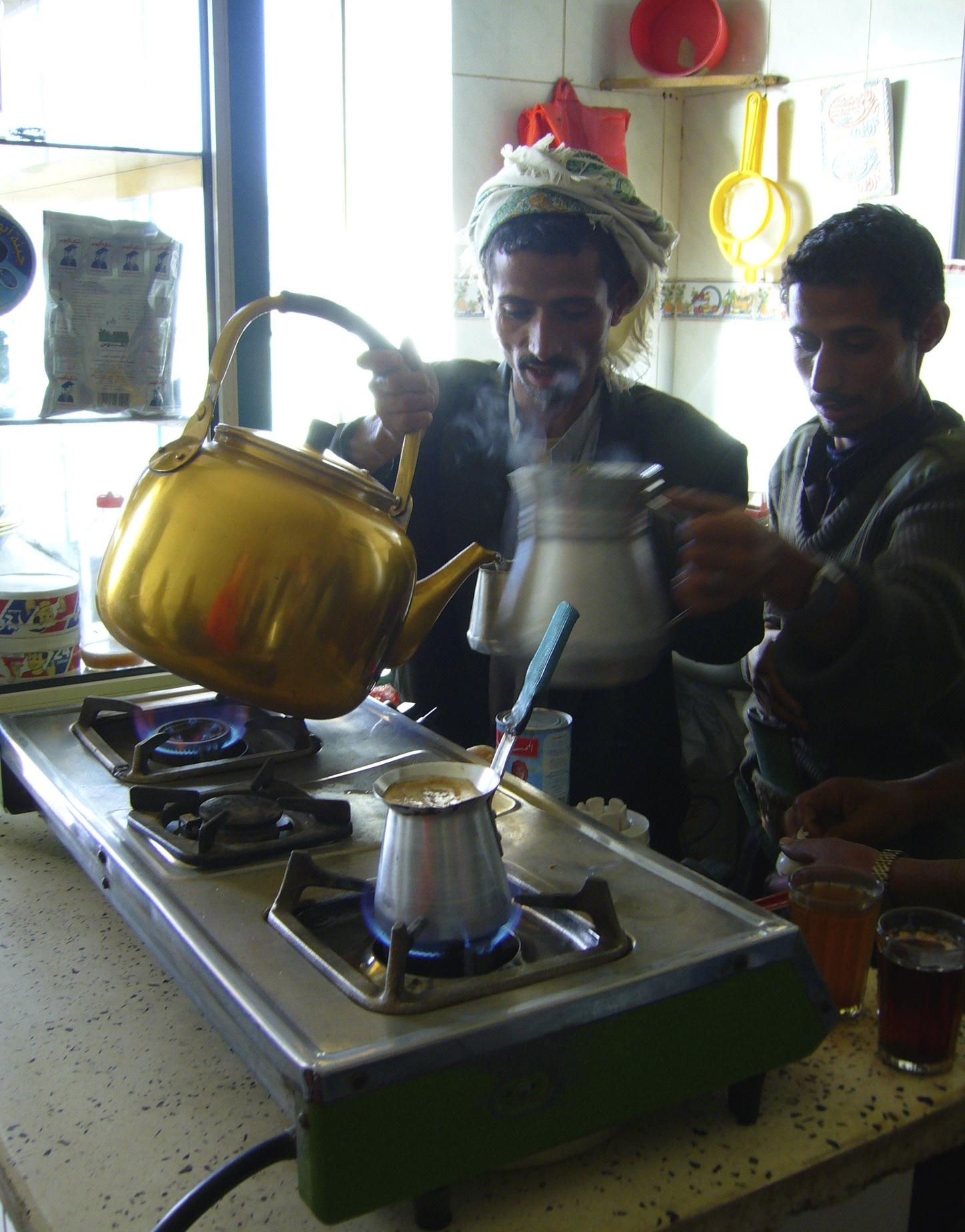 Baristas do Yemen e preparo de ibriq.
