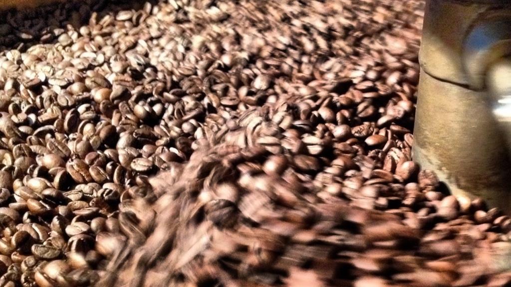 Resfriamento das sementes torradas.