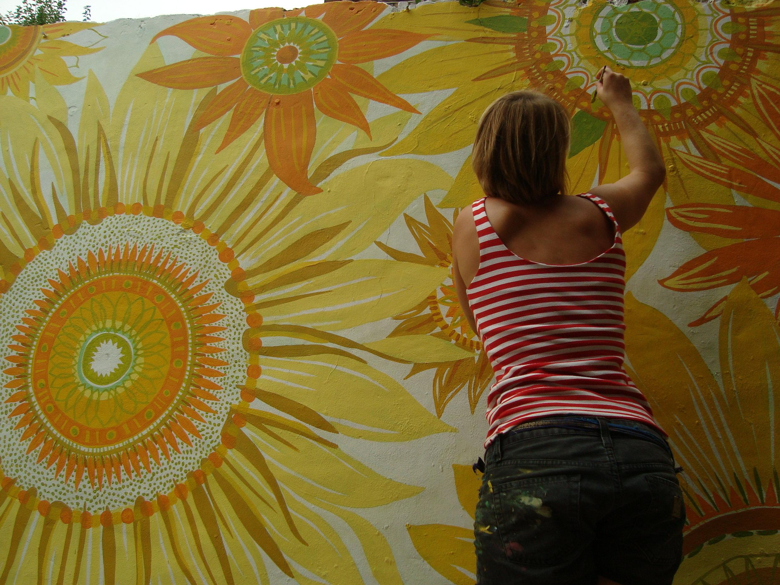 painting sunflowers.JPG