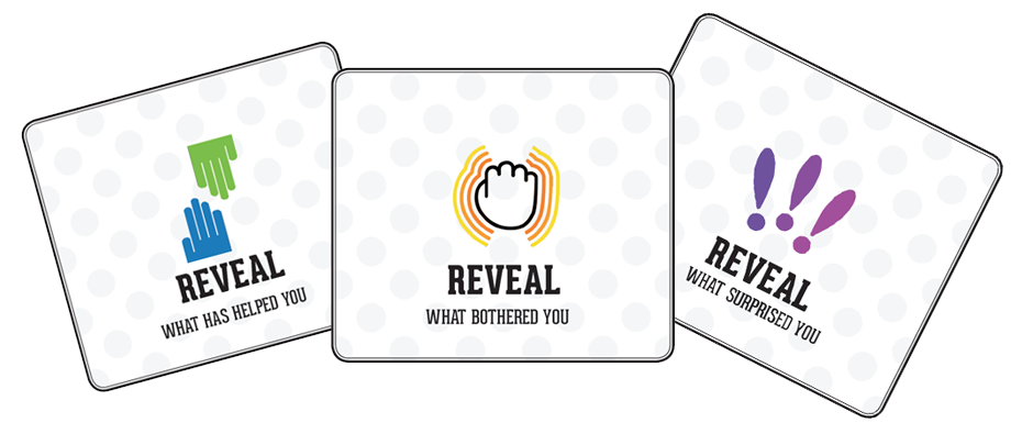 The reveal cards are meant to give players an opportunity to synthesize their thoughts and reflect more deeply on what they heard. They didn't quite work out that way. (Emi Kolawole)