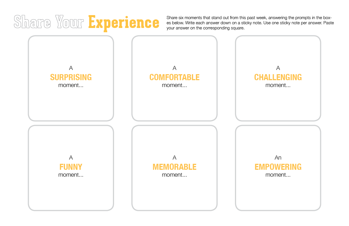 The first worksheet we have participants work with asks them to provide six life experiences. That takes a lot of time. Rather than have them share all six, I reduced it to two life experiences. (Emi Kolawole)