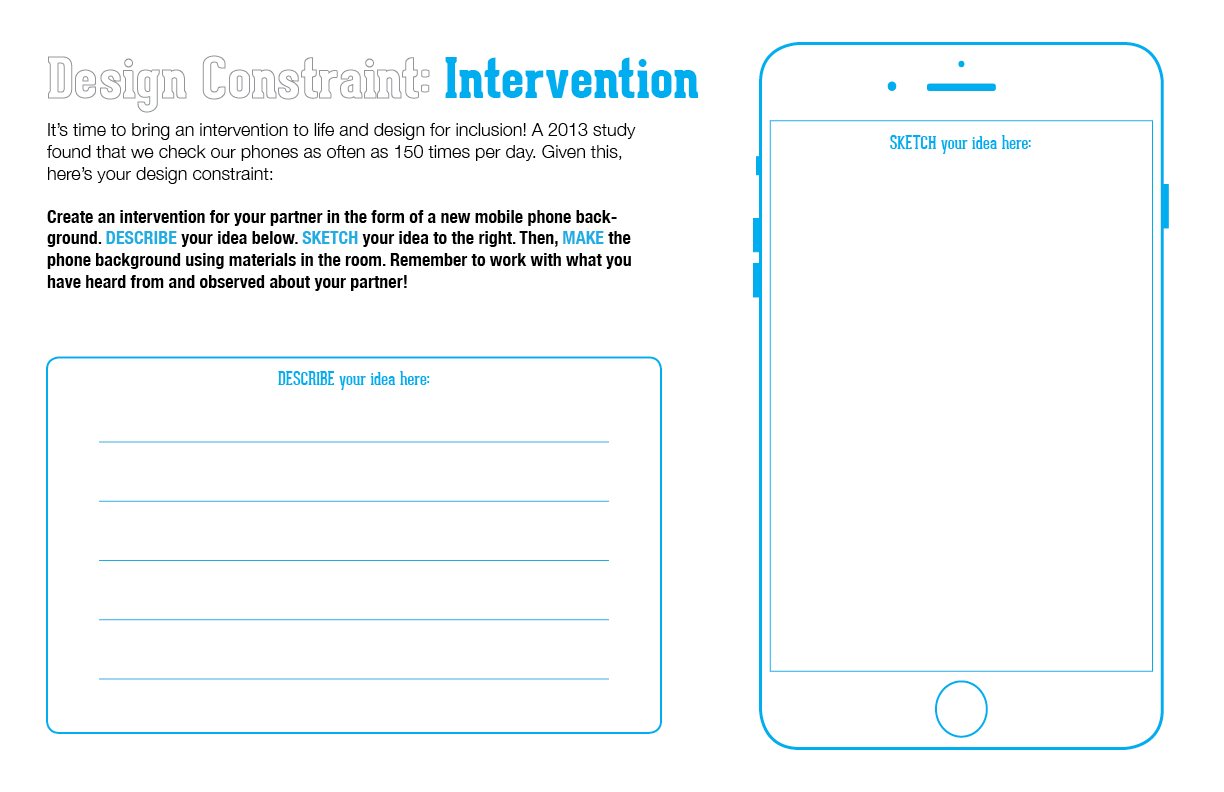 The third, and final, prototype worksheet, which I have eliminated in the shorter workshop versions and replaced with a phone screenshot to show the completed work (below). (Emi Kolawole)