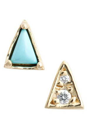 Mociun uses recycled metals, turquoise, and vintage diamonds, and is made in NYC.
