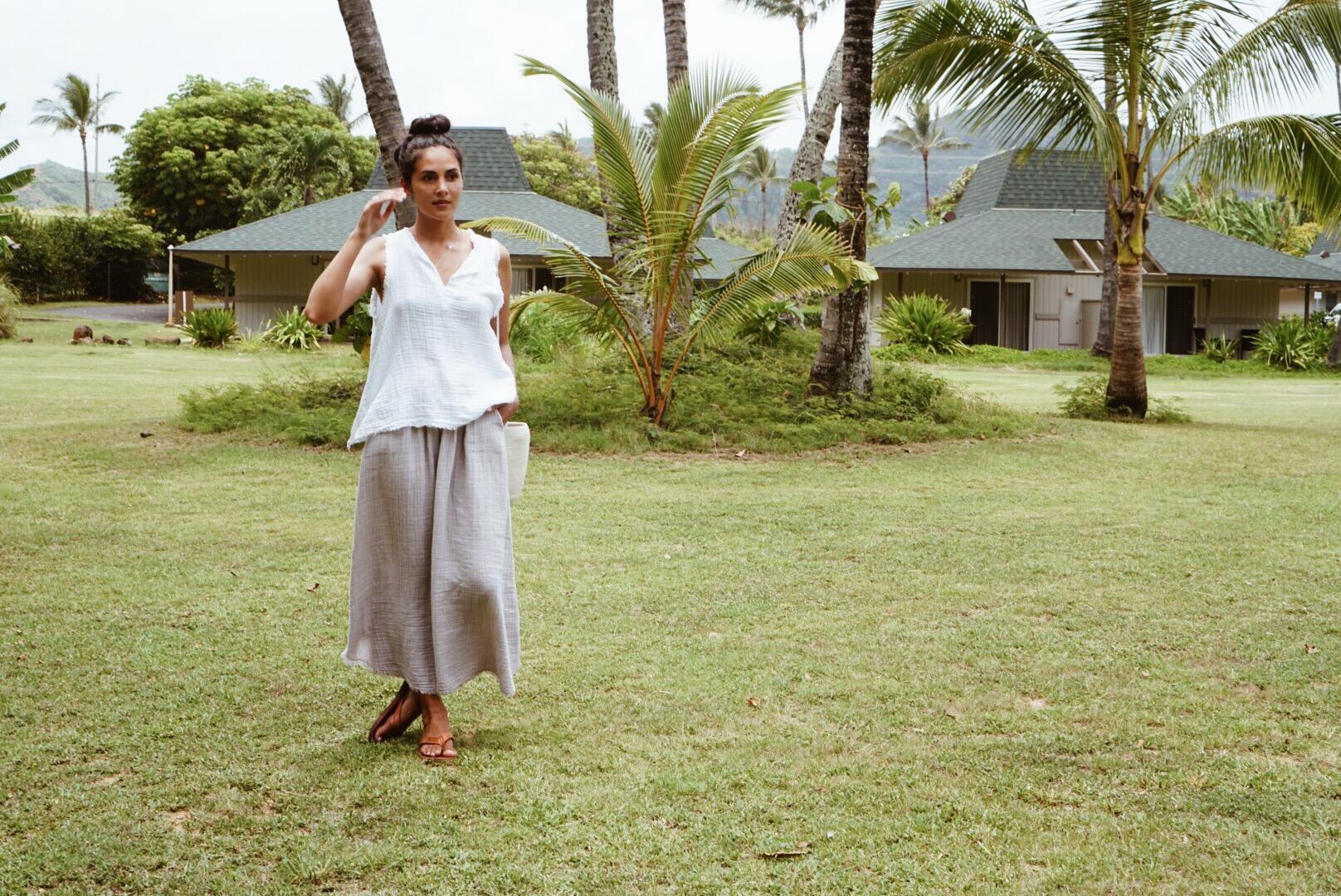 It Is Well LA  skirt and top +  Catzorange  bucket bag + Moment sandals