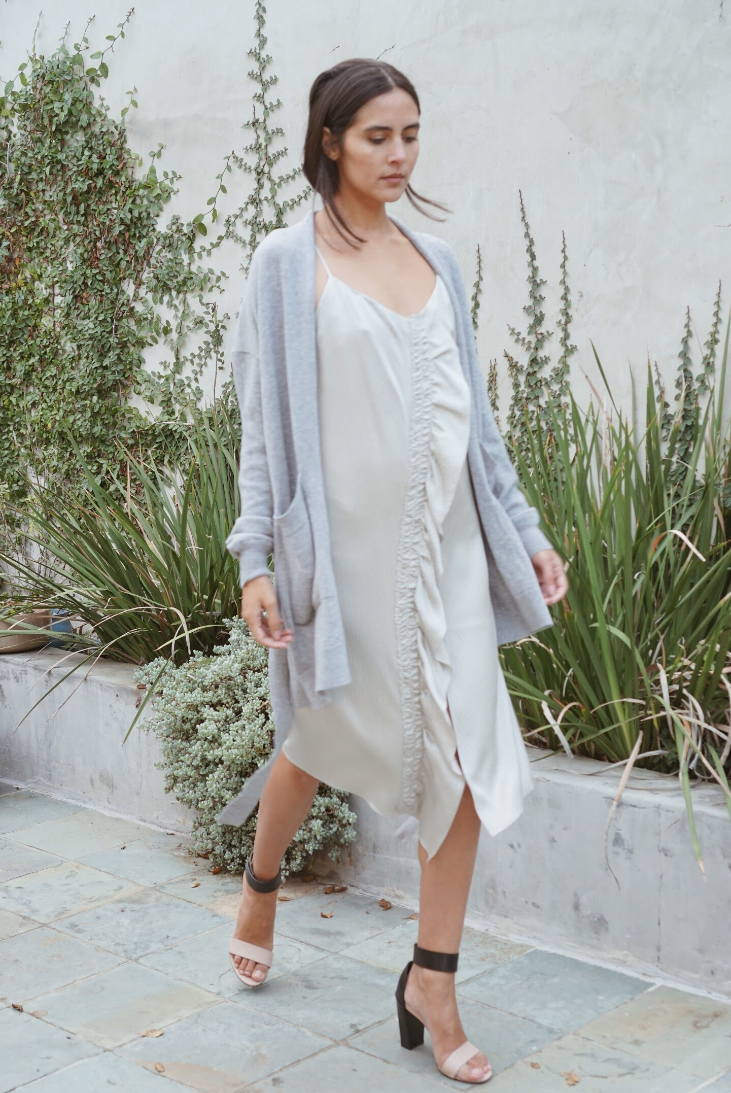 Maiyet Asymmetric Midi Slip Dress in Silver +  Maiyet  Wrap Cardigan in Grey.