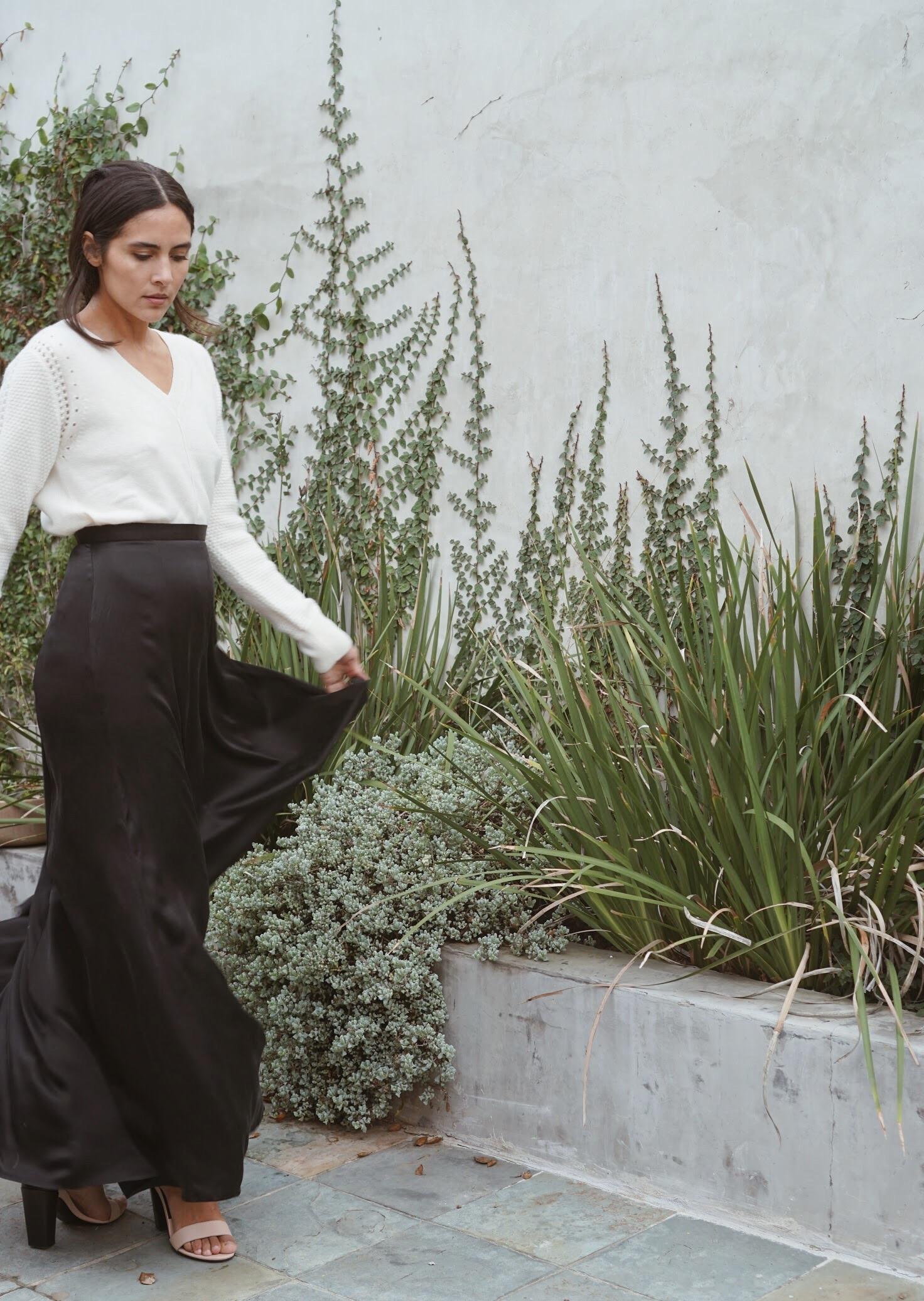 Maiyet V-Neck in Ivory +  Raven & Lily  Nurul Full Silk Maxi Skirt in Black.