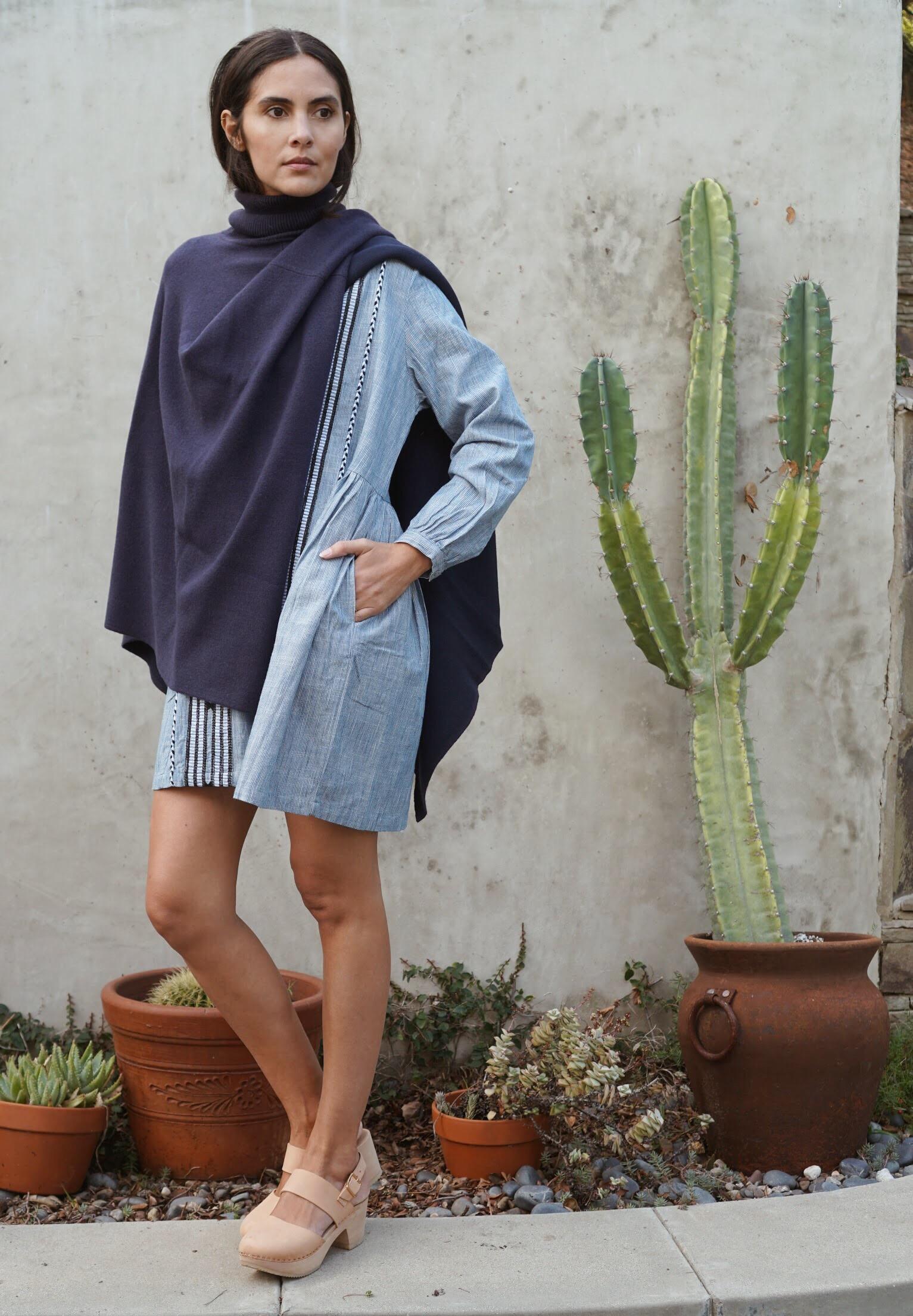Kopal  Riya Dress in Indigo Stripe +  Maiyet  Double Knit Cape in Navy +   Zuzii   Closed Toe Clogs in Natural.