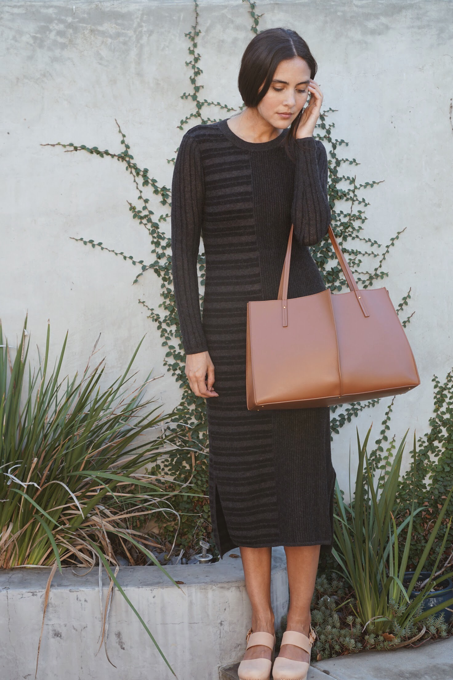 Maiyet Knit Stripe Sheath Dress in Blk/Ch +  Maiyet  Sia East/West in Cognac +   Zuzii   Closed Toe Clogs in Natural.