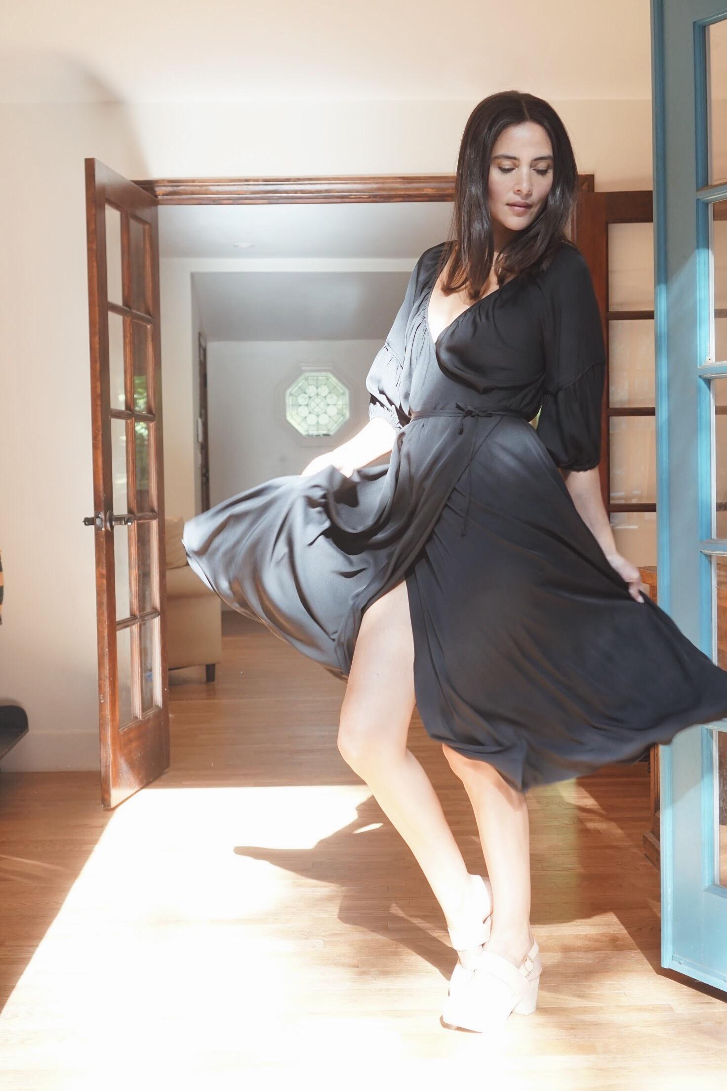 Olga Kapustina Silk Georgette Wrap Dress in Black +   Zuzii   Closed Toe Clogs in Natural.