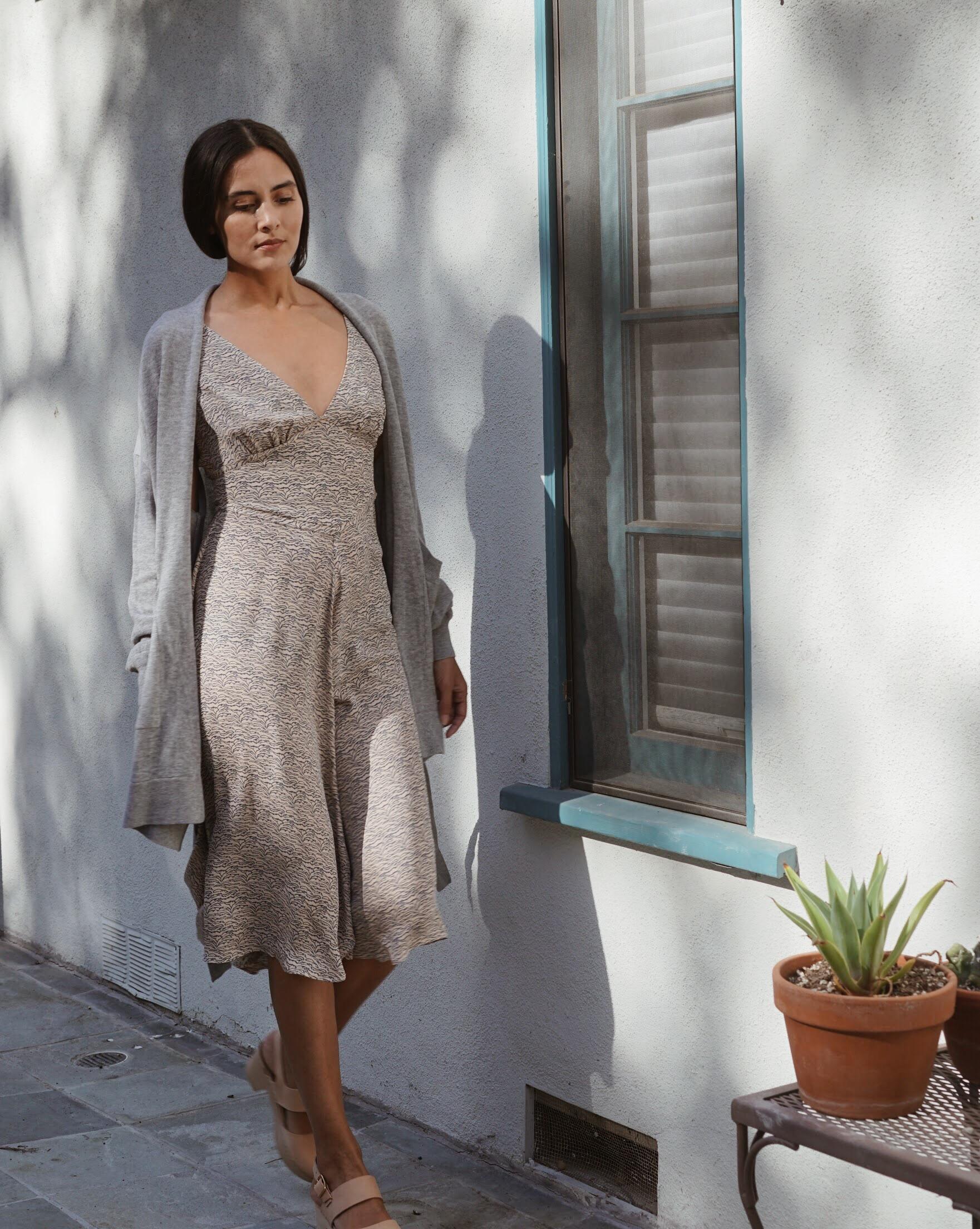 Olga Kapustina Silk Georgette Slip dress in Print +  Maiyet  Wrap Cardigan in Grey +   Zuzii   Closed Toe Clogs in Natural.